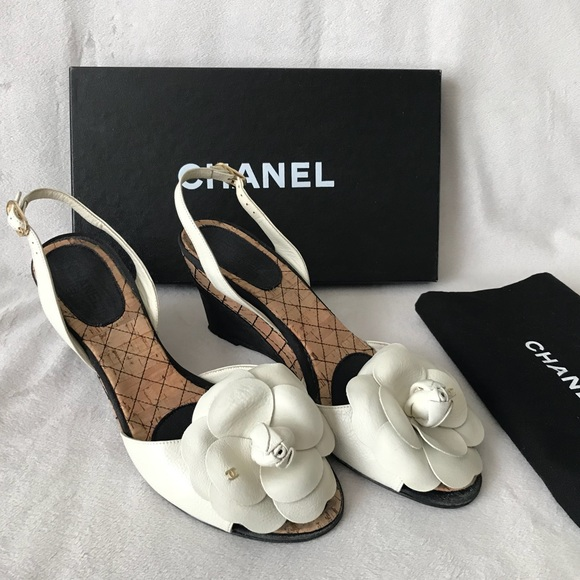 ec6693b704d CHANEL Shoes - CHANEL CC Camellia Flower Cork Wedge Heel Sandals